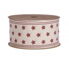 Лента декоративная в красные звезды 4cm x 5m