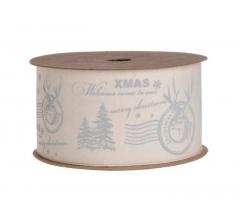 Лента декоративная рождественская серая  2,5cm x5m