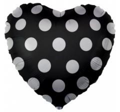 Шар (18''/46 см) Сердце, Белые точки, Черный