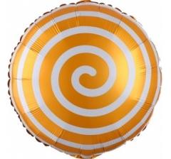Воздушный шар (18''/46 см) Круг, Леденец Спираль, Оранжевый