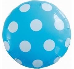 Воздушный шар (18''/46 см) Круг, Большие точки, Голубой