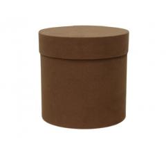 Коробка бархатная, d-150, h-150, коричневая