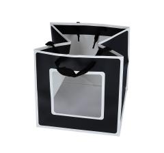 Пакет подарочный черно-белый 18cm /18cm /18cm 9T7146