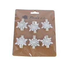 Комплект из 6 снежинок на прищепке l 3,5cm d3cm D7J0057