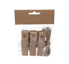 Набор из 3 прищепок деревянных декоративных 7cm/2cm/1,5cm LK19B11