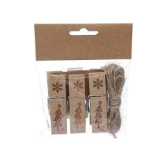 Набор из 3 прищепок деревянных декоративных 7cm/2cm/1,5cm LK19B12
