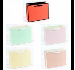 Пакет подарочный Однотонный в рамке (микс) 23*18*10 см