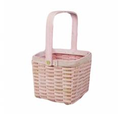 Корзина плетеная (секвойя), 15x15x12/24 см, 1 шт., розовый