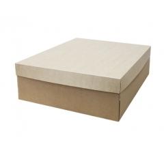 Коробка подарочная 350*350*150 мм, с крафт крышкой и крафт дном