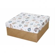 Коробка 200*200*100 мм, дизайн НГ2020-4, с крафт дном