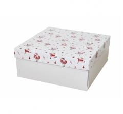 Коробка 200*200*100 мм, дизайн НГ2020-10, с белым дном