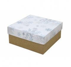 Коробка 150*150*70 мм, дизайн НГ2020-12 с крафт дном