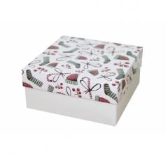 Коробка 150*150*70 мм, дизайн НГ2020-14,с белым дном