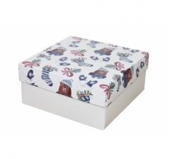 Коробка 150*150*70 мм, дизайн НГ2020-8,с белым дном