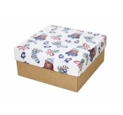 Коробка 150*150*70 мм, дизайн НГ2020-8,с крафт дном