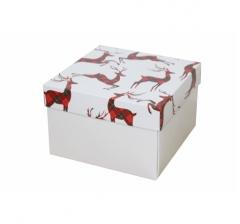 Коробка 150*150*100 мм, дизайн НГ2020-5, белое дно
