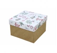 Коробка 150*150*100 мм, дизайн НГ2020-6, крафт дно