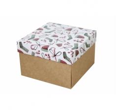 Коробка 150*150*100 мм, дизайн НГ2020-14, крафт дно