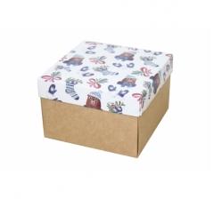 Коробка 150*150*100 мм, дизайн НГ2020-8, крафт дно