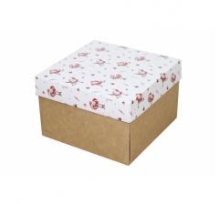 Коробка 150*150*100 мм, дизайн НГ2020-10, крафт дно