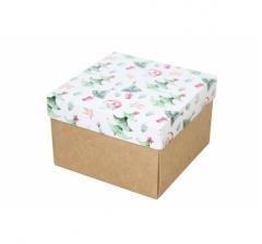 Коробка 150*150*100 мм, дизайн НГ2020-9, крафт дно