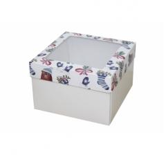 Коробка с окном 150*150*100 мм, дизайн НГ2020-8, белое дно