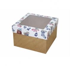 Коробка с окном 150*150*100 мм, дизайн НГ2020-8, крафт дно