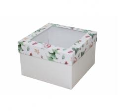 Коробка с окном 150*150*100 мм, дизайн НГ2020-9, белое дно