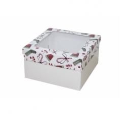 Коробка с окном 150*150*70 мм, дизайн НГ2020-14, белое дно