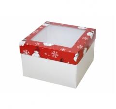 Коробка с окном 150*150*100 мм, дизайн НГ2020-1, белое дно