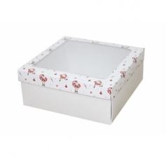 Коробка с окном 190*190*80 мм, дизайн НГ2020-10, с белым дном