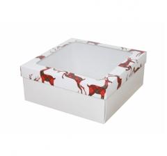 Коробка с окном 190*190*80 мм, дизайн НГ2020-5, с белым дном