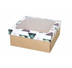 Коробка с окном 190*190*80 мм, дизайн НГ2020-13, с крафт дном