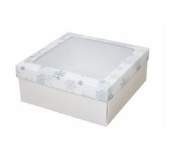 Коробка с окном 190*190*80 мм, дизайн НГ2020-12, с белым дном