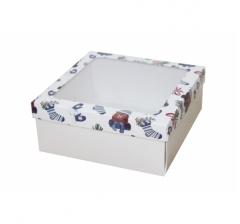 Коробка с окном 190*190*80 мм, дизайн НГ2020-8, с белым дном