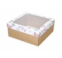 Коробка с окном 190*190*80 мм, дизайн НГ2020-6, с крафт дном