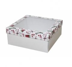 Коробка с окном 190*190*80 мм, дизайн НГ2020-14, с белым дном