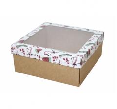 Коробка с окном 190*190*80 мм, дизайн НГ2020-14, с крафт дном