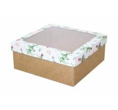 Коробка с окном 190*190*80 мм, дизайн НГ2020-9, с крафт дном