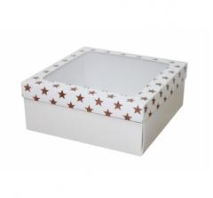 Коробка с окном 190*190*80 мм, дизайн НГ2020-11, с белым дном