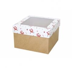 Коробка с окном 150*150*100 мм, дизайн НГ2020-10, крафт дно