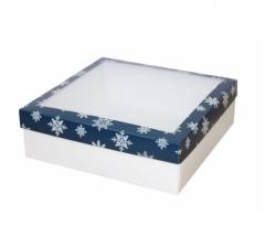 Коробка с окном 250*250*80 мм, дизайн НГ2020-2, белое дно