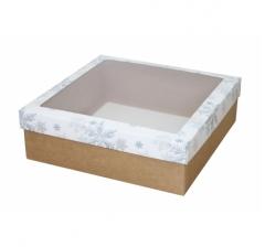 Коробка с окном 250*250*80 мм, дизайн НГ2020-12, крафт дно
