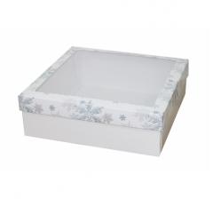 Коробка с окном 250*250*80 мм, дизайн НГ2020-12, белое дно