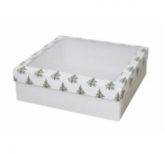 Коробка с окном 250*250*80 мм, дизайн НГ2020-3, белое дно