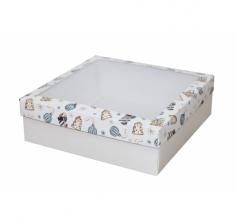 Коробка с окном 250*250*80 мм, дизайн НГ2020-4, белое дно