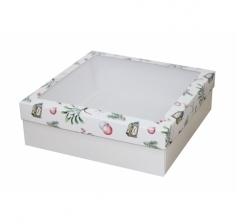 Коробка с окном 250*250*80 мм, дизайн НГ2020-6, белое дно