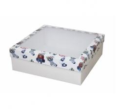 Коробка с окном 250*250*80 мм, дизайн НГ2020-8, белое дно