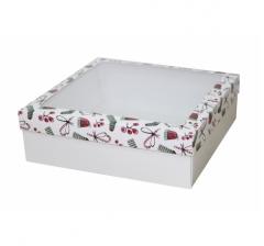 Коробка с окном 250*250*80 мм, дизайн НГ2020-14, белое дно