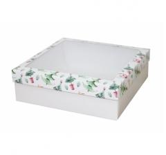 Коробка с окном 250*250*80 мм, дизайн НГ2020-9, белое дно